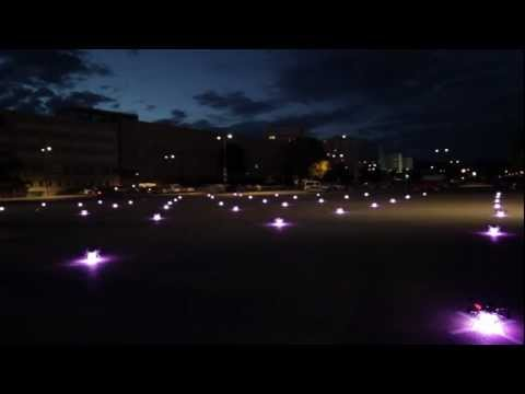 Watch A Swarm Of 50 Quadcopters Dance Beautifully Through The Night Sky