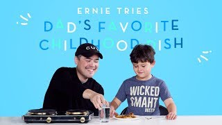 Ernie Tries His Dad's Favorite Childhood Dish! | Kids Try | HiHo Kids