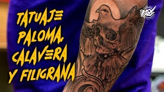 TATUAJE PALOMA, CALAVERA Y Filigrana DOVE, SKULL & Filigree TATTOO Single Needle