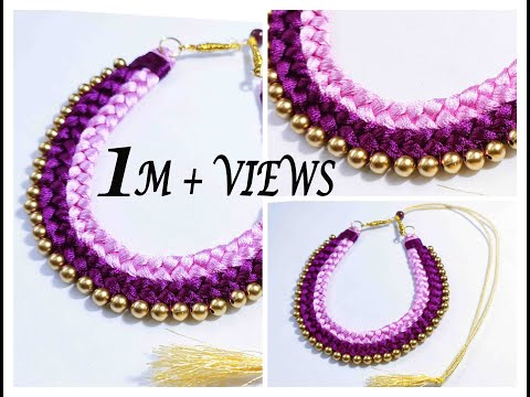 Handmade Double Colour Chocker Necklace    Silk Thread Jewellery Making At Home