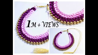 Handmade Double Colour Chocker Necklace || Silk Thread Jewellery Making At Home