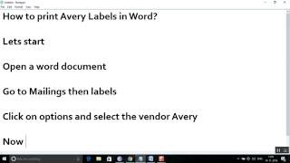 How to print Avery Mailing labels in Word?