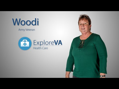 Practicing yoga at her VA helps Woodi manage her pain.