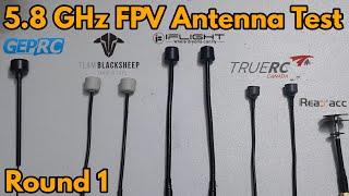 5.8Ghz FPV Antenna test round 1 : TBS Triumph, Truerc Singularity, Albatross Pagoda and Geprc Momoda