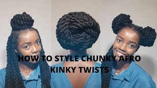 NATURAL HAIR||EASY TO GO STYLES FOR CHUNKY AFRO KINKY TWISTS
