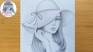 How To Draw A Girl Wearing Hat - Step By Step || Pencil Sketch || Bir Kız Nasıl çizilir