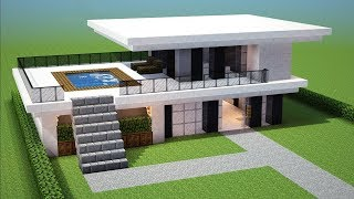Minecraft How To Build A Small Modern House Tutorial 13 Easy