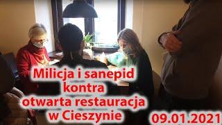 Milicja i sanepid kontra otwarta restauracja w Cieszynie.
