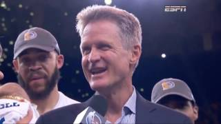 An emotional Steve Kerr still found time for sarcasm after clinching NBA Finals - Video Youtube