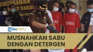 Ditresnarkoba Polda Jateng Musnahkan Sabu dari Malaysia yang Bobotnya Hampir 1 kg, Direndam Detergen