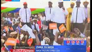 Musalia Mudavadi psyches up a jubilant NASA crowd of supporters in Meru