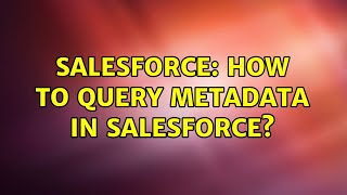 Salesforce: How to query metadata in salesforce?