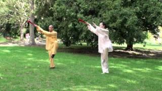 yang shi tai chi fan 36 - Master Liu Deming and his disciple Lele wang