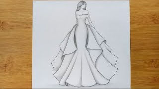 How To Draw A Girl With Beautiful Dress For Beginners / Pencil Sketch Step By Step