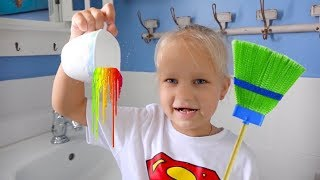 Алиса делает уборку в доме ! Alice cleans the HOUSE and play toys !!!