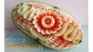 WATERMELON CARVING | carving fruits | By BÀN TAY ĐEN #carving #watermelon #papaya