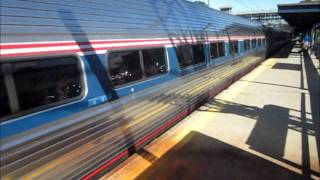 preview picture of video 'Amtrak Trains passing Harrison, New York October 7th 2011'
