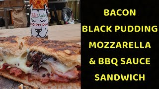Bacon, BBQ Sauce, Black Pudding & Cheese - Filthy Hot Sandwich