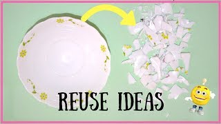 3 Ways To REUSE BROKEN CERAMIC BOWL I Best Out Of Waste I How To Up Cycle Broken Bowl Pieces