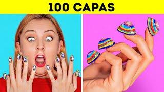 RETO DE LAS 100 CAPAS || 100 capas de maquillaje || ¡Más de 100 capas de cosas por 123GO!CHALLENGE!