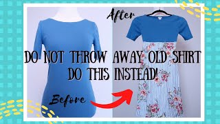 DIY: Old Shirt Becomes a Stylish Girls Dress | Sewing Hacks , Crafts, Clever Clothes Recycling Ideas