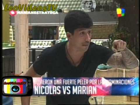 Feroz pelea entre Marian y Nicolas GH 2015 #GH2015 #GranHermano