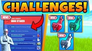 Fortnite HIGH STAKES CHALLENGES v2 GUIDE! - NEW Crystal Llama Rewards! (Battle Royale Update)