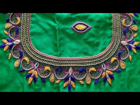 Blouse Design With Zigzag & French Knots | Aari Maggam Works |#106