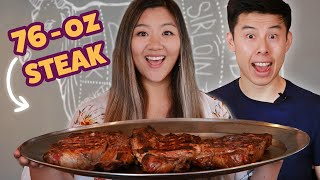 I Challenged My Friend To Finish A 76-Ounce Steak • Giant Food Time