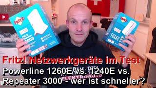 AVM Fritz! Repeater 3000 vs. Powerline 1260E vs. Powerline 1240E - Mit wem surft man schneller?