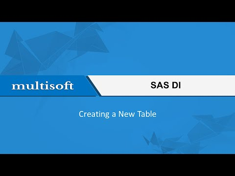 Creating a New Table in SAS DI Training