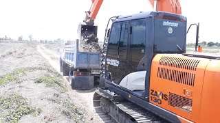 รถแม็คโคร HITACHI 130 ถมดิน ขุดบ่อ ทีมงาน เสี่ยหนุ่ย ทรัพย์โสธร หินมูล บางเลน นครปฐม EP.2