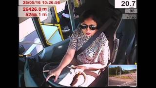 Driving a bus takes some strength especially at crossings and through roundabouts