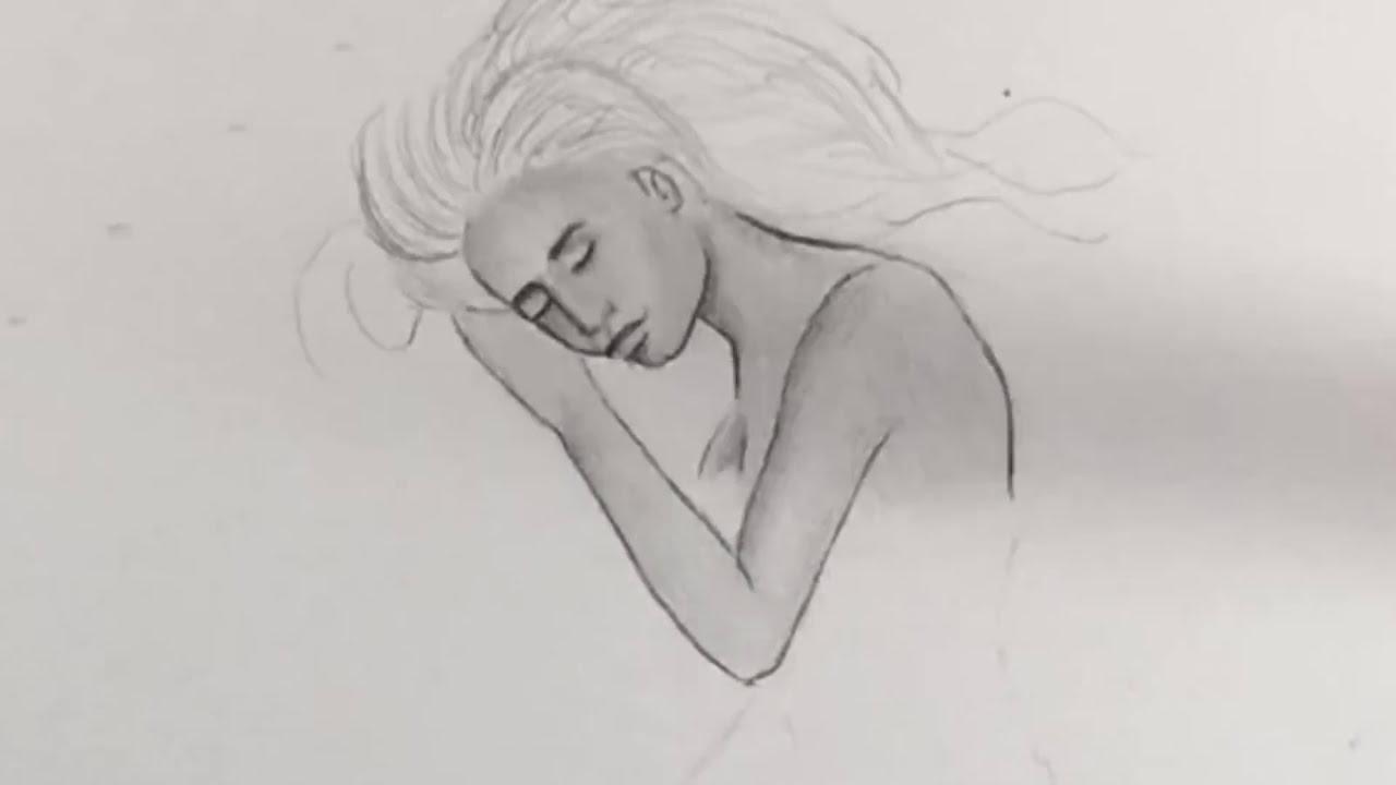 3d drawing of a woman sleeping by chris samba