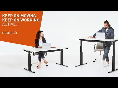 Mehr Bewegung am Arbeitsplatz - ACTIVE.T höhenverstellbarer Schreibtisch - deutsch