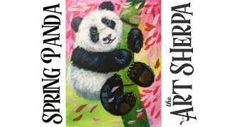 Learn How to paint with Acrylic on Canvas Spring Baby Panda #playlive #derpsquad | Kholo.pk