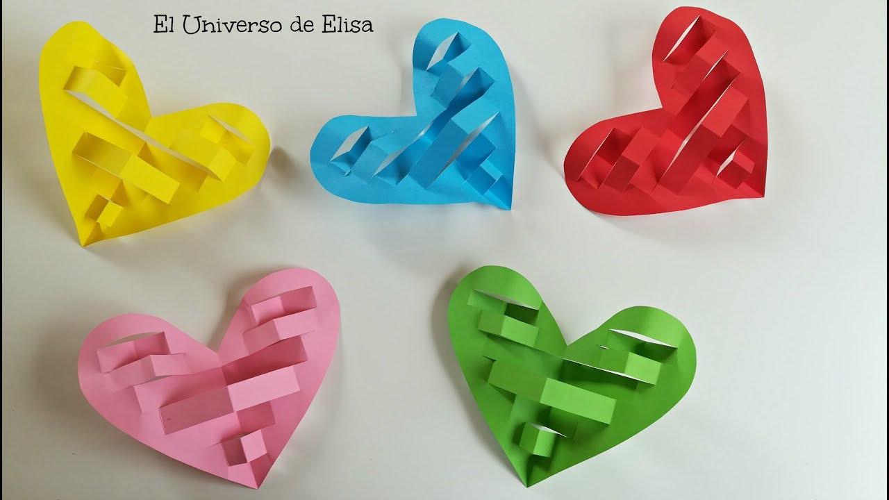 DIY, Decora tu Habitación con Corazones de Papel, Manualidades para San Valentín, Corazones 3D