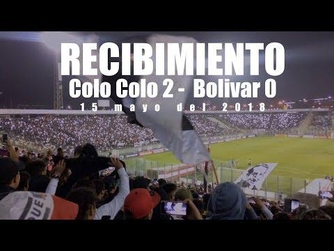 """""""Recibimiento Garra Blanca, Colo Colo 2 - Bolivar 0, 15 mayo 2018"""" Barra: Garra Blanca • Club: Colo-Colo"""
