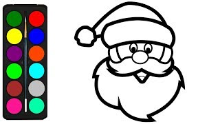 santa claus face coloring pages for kids how to draw santa claus face learning youtube