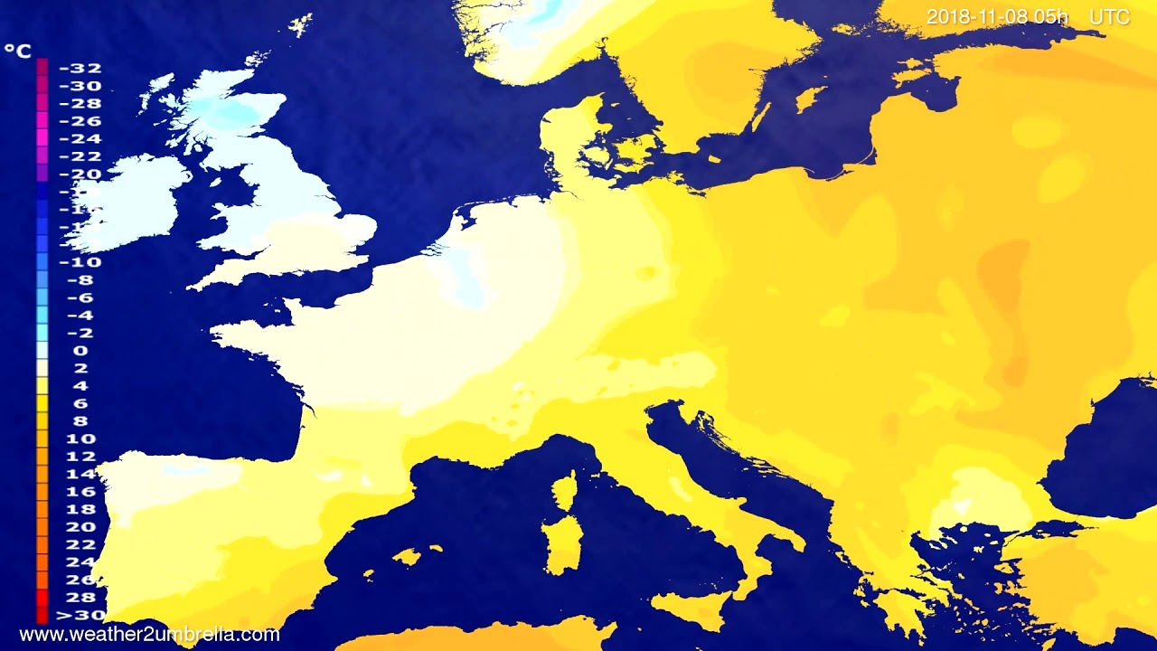 Temperature forecast Europe 2018-11-05