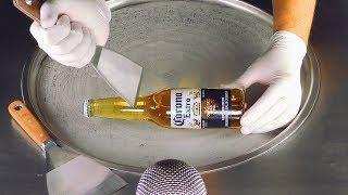 ASMR - Corona Extra Ice Cream Rolls | Satisfying Beer Ice Cream - Fast ASMR Tapping & Scratching