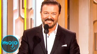 You haven't been roasted until you've encountered Ricky Gervais. For this list, we're looking at the most brutal and hilarious insults that the comedian has taken at stars while hosting the Golden Globes. Our countdown includes roasts of Charlie Sheen, Caitlyn Jenner, Mel Gibson, Brad Pitt and Angelina Jolie, Tom Cruise, and more! Which insult do YOU think was the best? Let us know in the comments!  Watch more great videos here:  Top 10 Celebrity Roasts – Best of WatchMojo: https://youtu.be/9wQPIKMrcf0 Top 10 Times Comedians Crossed the Line: https://youtu.be/e_6UgdS-NEs Top 10 Savage Gordon Ramsay Twitter Roasts: https://youtu.be/xl8BaPgbbHM Watch on WatchMojo: http://watchmojo.com  #RickyGervais #Roasts #Comedy   Check our our other channels! http://www.youtube.com/mojoplays http://www.youtube.com/mojotalks http://www.youtube.com/msmojo http://www.youtube.com/jrmojo http://www.youtube.com/watchmojouk  WatchMojo's Social Media Pages http://www.Facebook.com/WatchMojo http://www.Twitter.com/WatchMojo  http://instagram.com/watchmojo   Get WatchMojo merchandise at shop.watchmojo.com  WatchMojo's ten thousand videos on Top 10 lists, Origins, Biographies, Tips, How To's, Reviews, Commentary and more on Pop Culture, Celebrity, Movies, Music, TV, Film, Video Games, Politics, News, Comics, Superheroes. Your trusted authority on ranking Pop Culture.