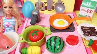 Kitchen Cart Barbie And Baby Doll Toys Surprise Eggs Baby Play 주방 카트와 요리놀이 서프라이즈에그 장난감 놀이 |보라미TV