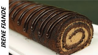 Швейцарский Шоколадный рулет. Нежный, тающий во рту рулет с шоколадным кремом