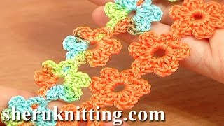 Crochet Floral Cord Lace Tutorial 51 Small Six-Petal Flowers