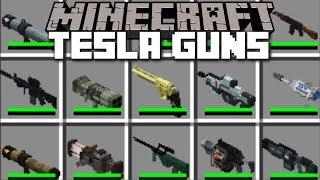 Minecraft TESLA TECH GUNS MOD / FIGHT AND DESTROY EVIL ZOMBIES!! Minecraft