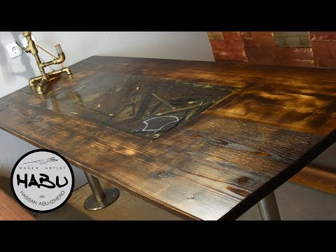 HABU \\ Building A Rustic Dining Table With Epoxy Tool Inlay