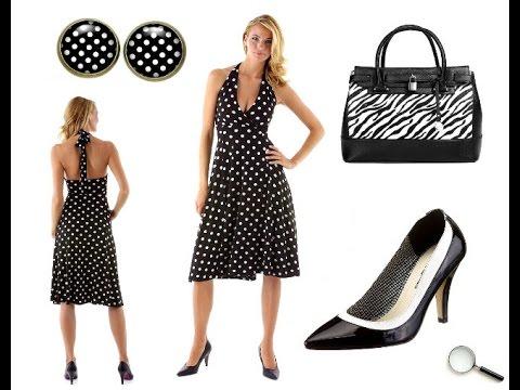 50er Kleider in Schwarz mit Polka Dots Punkten + Outfit Tipps