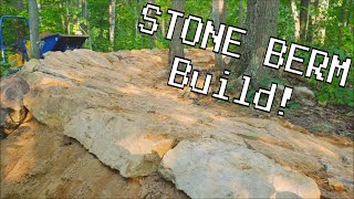 Building a STONE BERM for the Mountain Bike Trail at Snowkraft! (Time-Lapse Video)