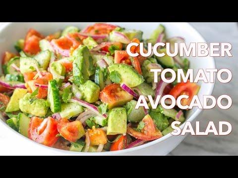 Video Salads: Cucumber Tomato Avocado Salad Recipe - Natasha's Kitchen